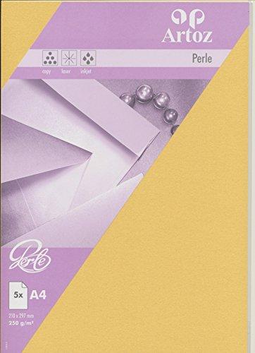 Artoz Papier AG - Perle Karte A4 einfach 5er-Pack gold