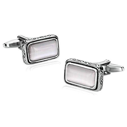 AmDxD Manschettenknöpfe für Herren, einzigartig, Silber, Weiß, rechteckig, mit Muster, 1,9 x 1 cm