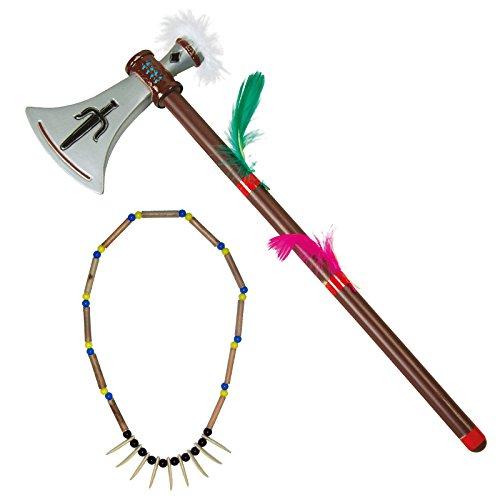 Spassprofi Tomahawk + Halskette mit Zähnen f. Kostüm Indianer Indianerschmuck