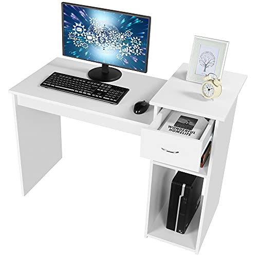 Topeakmart Small White Computer Desk with Drawers and Printer Shelves, Wood Study Writing Table Compact PC Laptop Workstation for Small Space Home Office