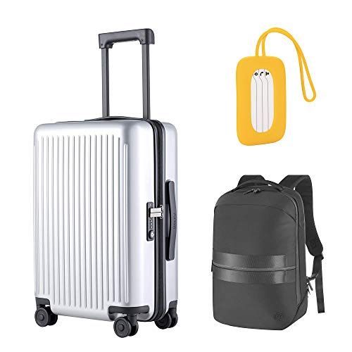 NINETYGO 22x14x9 Carry on Luggage with Spinner Wheels, Hardside Suitcase with TSA Lock (20-inch Silver); NINETYGO Laptop Backpack with 17.5L Large Capacity (Black); Luggage Tag Silica Gel (Yellow)