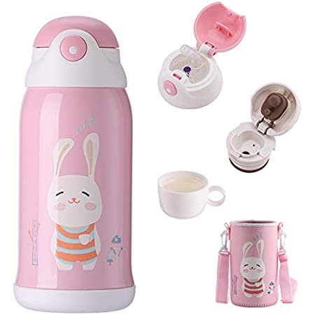 Cute Cat Thermoses Water Bottle Oneisall Cat Tumbler Stainless Steel Insulated Thermal Travel Coffee Mug For Kids Adult Cat Lover Gift 17oz Black Kitchen Dining