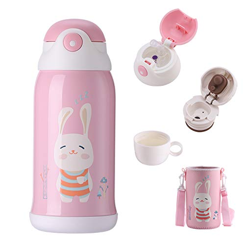 UPSTYLE Stainless Steel Water Bottle with Straw, 20 oz Insulated Thermos Kids, Vacuum 5 Walled Thermal Tumbler, Animals Flask Travel Mug for School Lunch (Rabbit)