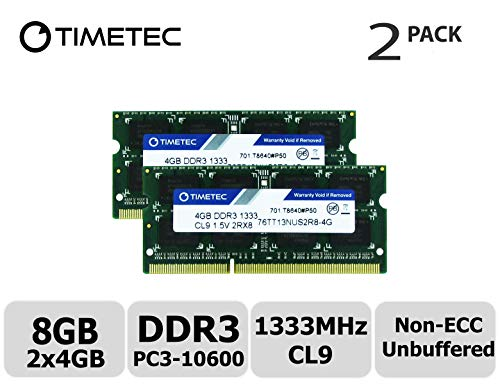 Timetec Hynix IC 8GB Kit (2x4GB) DDR3 1333MHz PC3-10600 Unbuffered Non-ECC 1.5V CL9 2Rx8 Dual Rank 204 Pin SODIMM Laptop / Notizbuch Arbeitsspeicher Module Upgrade (8GB Kit (2x4GB))