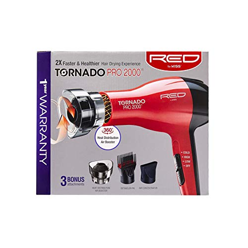 RED by KISS Tornado Pro 2000 Hair Blow Dryer BD08N