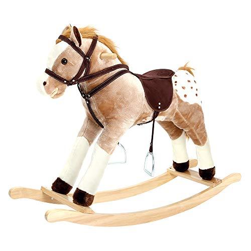 Bino & Mertens Plüsch-Schaukelpferd 82533, maxi, weiß-braun, bewegt auf Knopfdruck Maul, Schwanz und wiehert. Für Kinder ab 3 Jahre, bis 50 kg Körpergewicht. Größe 105x30x90 cm.