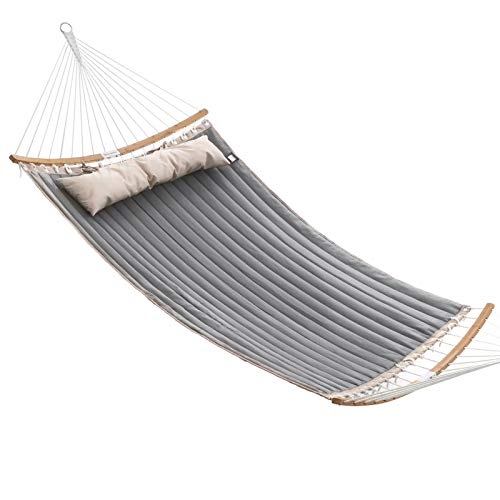 SONGMICS Padded Double Hammock, Quilted Hammock with Detachable Curved Bamboo Spreader Bars, Swing Bed with Pillow, Oxford Fabric, 200 x 140 cm, Load Capacity 225 kg, Brown and Grey GDC34CG