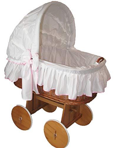 Babymajawelt® Stubenwagen Bezug TRAUMHAFT - XXL -Bollerwagen Ersatzbezug weiss (weiss-rosa)