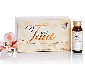 Taut Premium Collagen Advanced Formula Supplement Drink - 13,000mg Marine Collagen Peptides + Grape Seed Extract Clinically Tested Dermatologist Tested.