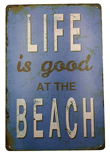 AIQIBAO Metal Vintage Tin Sign Decor-Life is Good On The Beach for Kitchen Home Garage Bar Pub Outdoor Retro Art Sign 12