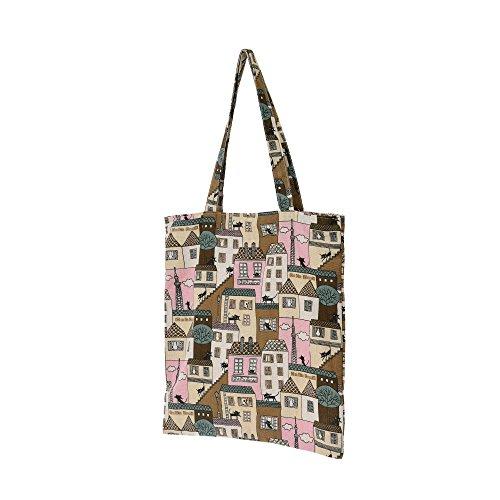 WITHMOONS Borse riutilizzabili per la spesa Natural Cotton Canvas Tote Bag Grocery Bags Reusable EB012 (Red)