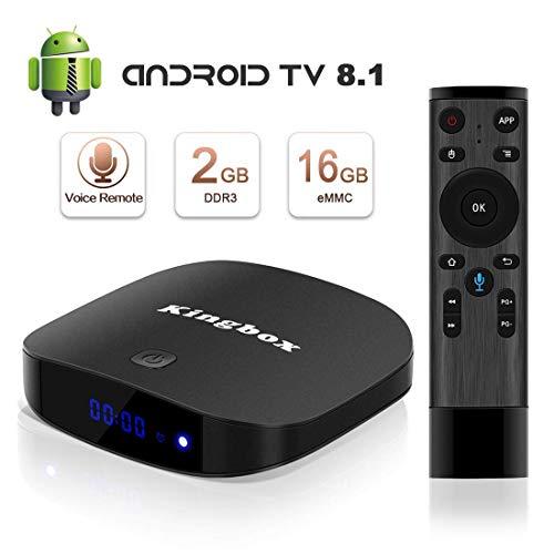 Android 8.1 TV Box, Superpow Smart TV Box Quad Core 2GB RAM+16GB ROM, 4K*2K UHD H.265, HDMI, USB*2, WiFi Media Player, Android Set-Top Box con Voice Remote Control