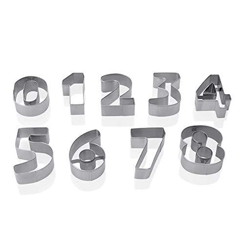 WAS 1692 010 Edelstahl Ausstechformen Set, 8cm Länge, 2.5cm Höhe, Set mit 9 Zifern