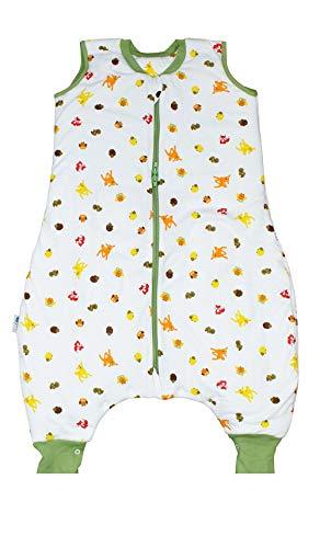 Schlummersack Schlafsack mit Füßen ungefüttert für den Sommer ungefüttert in 0.5 Tog - Waldtiere - 80cm mit Druckknöpfen an den Beinen
