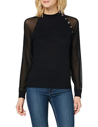 Morgan Pull Manches Longues Transparentes Mabi Suéter, Noir, TXS para Mujer