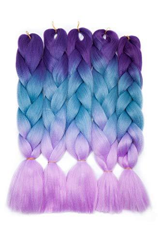 5PCS/500G Trenza de cabello Extensiones de cabello de trenzado 4 tonos Trenzas de ganchillo retorcidas Braiding Twist Hair Extensions Púrpura al Lago Azul a Púrpura Claro