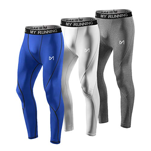 MEETYOO Men's Compression Pants, Cool Dry Long Base Layer Leggings, Sport Fitness Underwear Tights (3pcs-D, Medium)