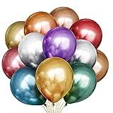 Yoyobule Glänzende Metallic Luftballons Set, 50 Stück Luftballons Bunt Satz von Metallic Luftballons in 8 Metallicfarben, Helium Ballons Metallic für Deko Geburtstag, Deko Hochzeit,Vintage Deko