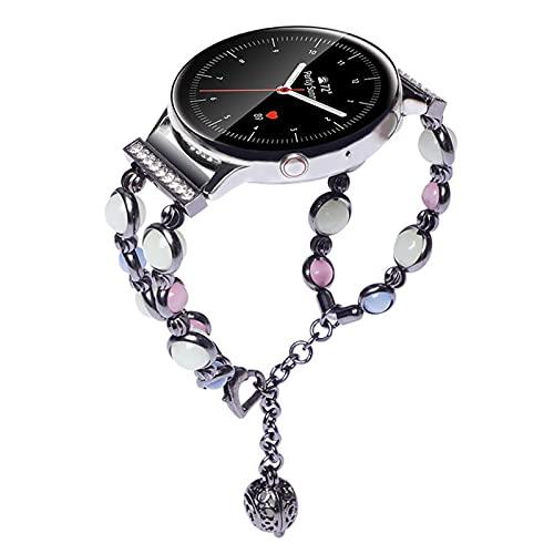 Pulsera de mujer de acero inoxidable de cuentas luminosa para Samsung Smart Watch Galaxy Watch 3 banda (Band Color : Black, Size : For Galaxy active 2)
