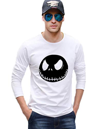AIMM Nightmare Before Christmas Jack Skellington Men Long Sleeve T Shirt Cotton Hipster Man t-Shirt,white1,S