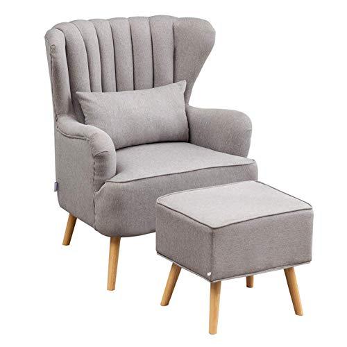 AMYZ Poltrona con poggiapiedi Tessuto di Lino Grigio Bianco Sedie con Accenti occasionali Splendida sedia a pozzetto con schienale alato con gambe in Legno per soggiorno Camera da letto Lounge (g