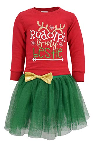 Unique Baby Girls Rudolph is My Bestie Christmas Tutu Dress (4t) Red