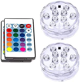 VIPMOON Submersible LED Lights,2 Pack 10LED Waterproof Light Multi Color Battery Operated Submersible Spot Lights with Remote Control for Vase Base,Floral,Aquarium,Pond,Wedding,Halloween Decorations