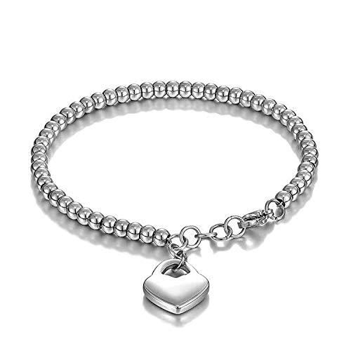 Keybella Bracciale Braccialetto per Donna Braccialetto perline in acciaio inox con pendente cuore,colore a scelta (Argento)
