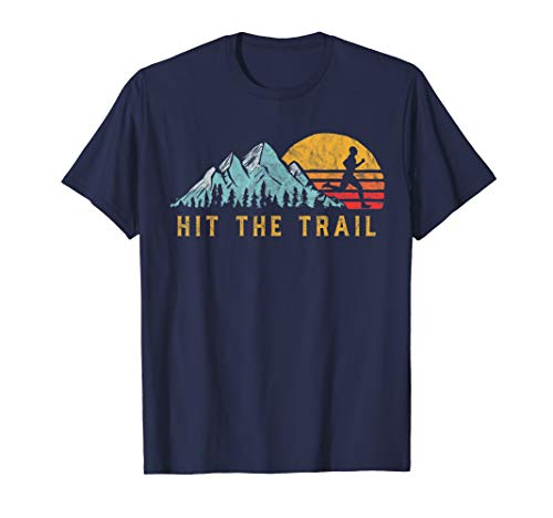 Hit the Trail, Runner - Retro Style Vintage Running Graphic T-Shirt