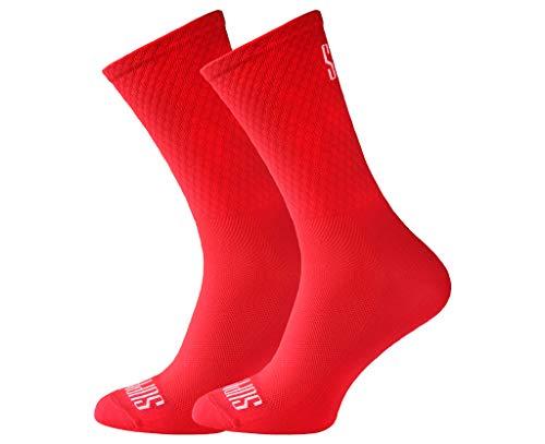 Support, Calzini da ciclismo da uomo, con tecnologia traspirante, in fibra antiscivolo, unisex, con motivi divertenti, Unisex - Adulto, Rosso, 6-7 UK / 39-41 EU