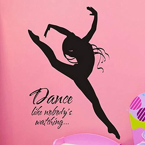 Tianpengyuanshuai Ballerina Wandtattoo Vinyl Kunst Wandbild Aufkleber Mädchen Schlafzimmer Tanzdekoration-63x90cm
