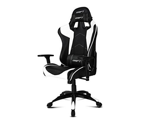 Drift DR300BW - Silla Gaming profesional, polipiel, reposabrazos 3D, piston clase 4, asiento basculante, altura regulable, respaldo reclinable, cojines lumbar y cervical, color negro/blanco