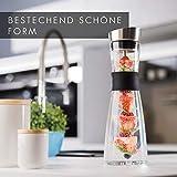 GLASWERK Design Karaffe - Glaskaraffe (1L) mit Fruchtspieß, Edelstahldeckel & Griff - edle Wasserkaraffe aus Borosilikatglas - 2