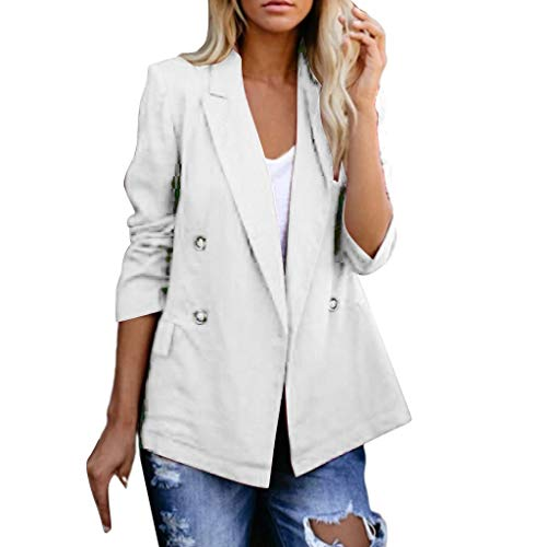 Review Women's Casual Lightweight Fall Open Front Long Sleeve Cardigans Duster with Pockets White