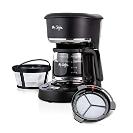 Mr. Coffee 5 cup programmable 25 oz. Mini, brew now or later, with water filtration and nylon reusable filter, coffee maker, black 7 compact design that fits nicely into small spaces brew later feature allows you to set your coffeemaker ahead and wake up to fresh brewed coffee ergonomic carafe designed for easy pouring and handling with ounces markings for better measuring