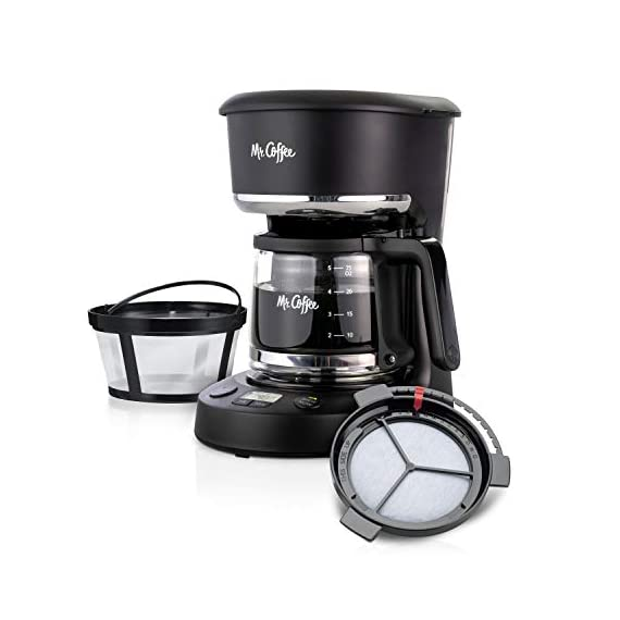 Mr. Coffee 5 Cup Programmable 25 oz. Mini, Brew Now or Later, with Water Filtration and Nylon Reusable Filter, Coffee… 1 Compact design that fits nicely into small spaces Brew later feature allows you to set your coffeemaker ahead and wake up to fresh brewed coffee Ergonomic carafe designed for easy pouring and handling with ounces markings for better measuring
