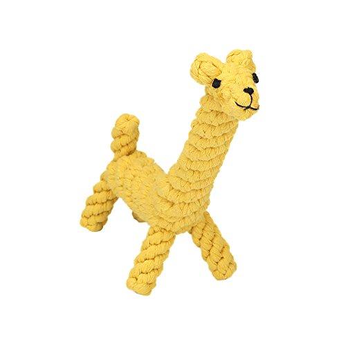 Vivifying Kauspielzeug für Welpen, aus Langlebiger Geflochtener Baumwolle Hundespielzeug Giraffe für Kleine Hunde Zahnreinigung (Gelb)