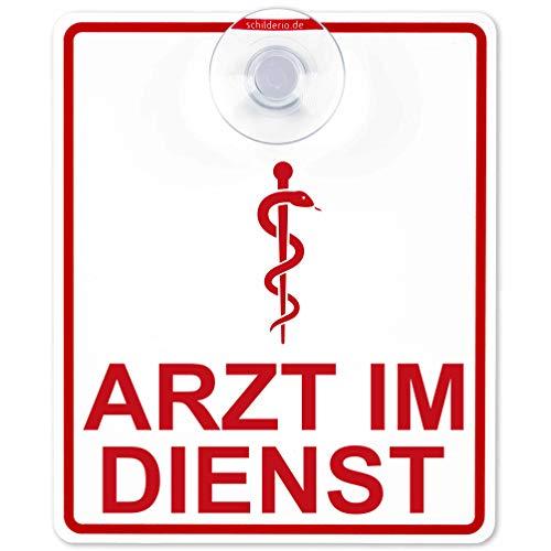 Schilderio Premium Saugnapfschild Schild Arzt im Dienst, 3 mm Acrylglas, ca.90x125 mm, Arzt Auto Schild mit 1x Saugnapf 30mm, Autoschild Arzt zur Befestigung an Autoscheiben von innen