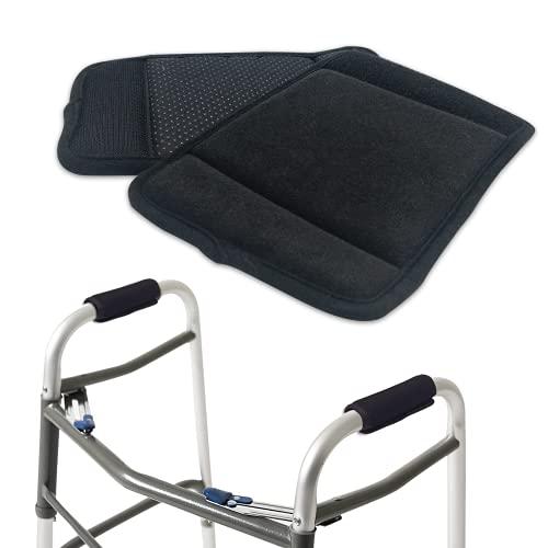 Empuñaduras acolchadas para caminante (2 unidades), suaves y cómodas, almohadillas de agarre para caminante, para silla de ruedas, accesorio de movilidad antideslizante, transpirable, color negro ✅