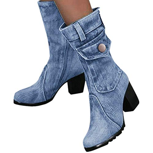 Wadonerful Women Rome Boots Round Toe Thick High Heel Shoes Slip-On Retro Denim Short Boots Party Work Ankle Mid-Boots (7, Light Blue)