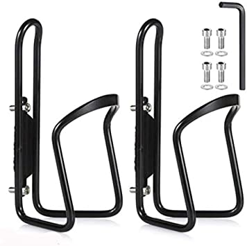 2 Pack Water Bottle Cages Basic Aluminum Alloy Bicycle Water Bottle Cage for Cycling Fits Any Bike with Easy Installation