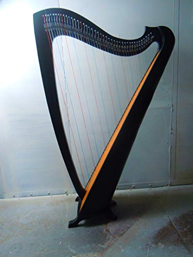 Musical Instrument Black Celtic Irish Lever Harp 42 Strings Free Extra Strings and Tuning key