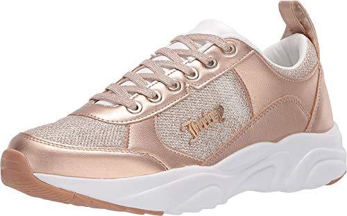 Juicy Couture - Zapatillas de Tenis para Mujer, Estilo Informal, con Plataforma, Color Blanco, Malla de Oro Rosa con Purpurina, 6 US