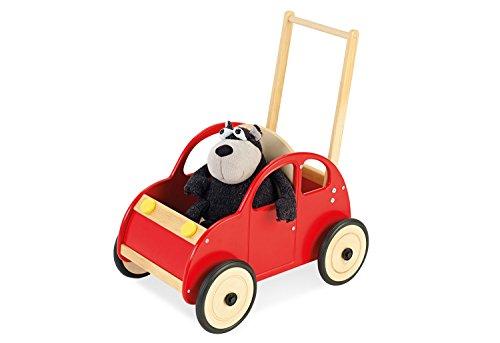 Pinolino looplerwagen auto Jonas, van hout, met remsysteem, loophulp met rubberen houten wielen, voor kinderen van 1-6 jaar, kleurrijk