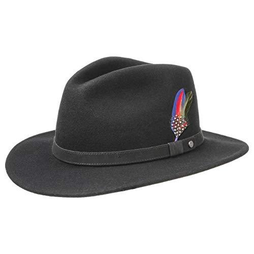 Stetson Yutan Sombrero de Fieltro Mujer/Hombre - con Fieltro de Lana de Asahi Guard - Impermeable y Resistente a Las Manchas - Sombrero de Exteriores Plegable - Verano/Invierno - Negro L (58-59 cm)