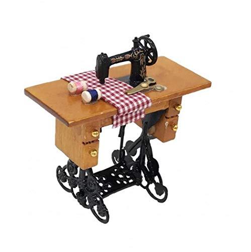 Nicetruc Mini Máquina De Coser De Muñecas En Miniatura 1:12 Escala De La Máquina De Coser para La Decoración del Dollhouse Brown