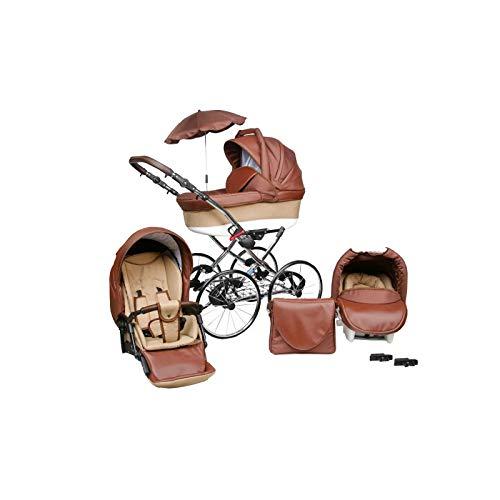 Kinderwagen Amberline Classica Lux Retro Eco Leder, 3 in 1 - Set Wanne Buggy Babyschale Autositz mit Zubehör (Regenschutz Insektenschutz Adaptersitz Sonnenschirm 17' Speichenmetallräder) (Braun)