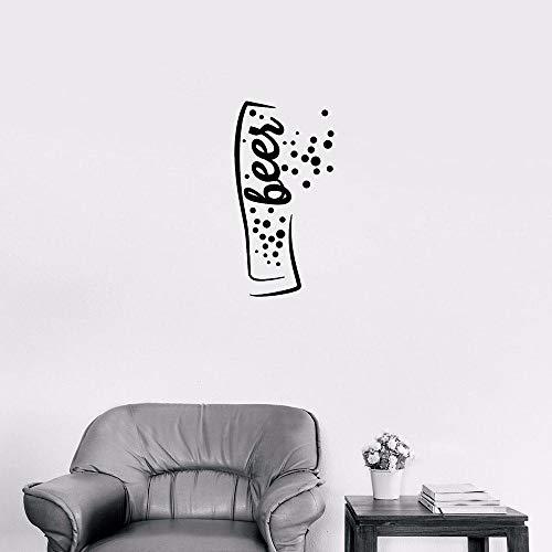 Muursticker creatief bierglas patroon wooncultuur woonkamer bar drinken café restaurant vinyl Muraux sticker 57 x 29 cm