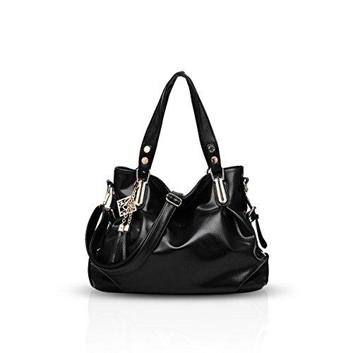 NICOLE&DORIS nuevas señoras bolsa clásicos mujeres del bolso de hombro portátil bolsa blanda de la manera ocasional del mensajero(Black)