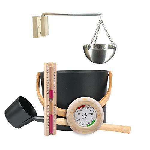 Klassisches Saunazubeh?r 7L Aluminium Eimer Aluminiuml?ffel Thermometer Hygrometer Sanduhr Timer ?therisches ?l Schüssel Set für Sauna geeignet (Black)